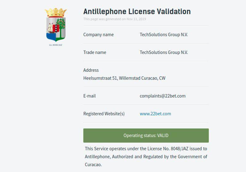22BET License