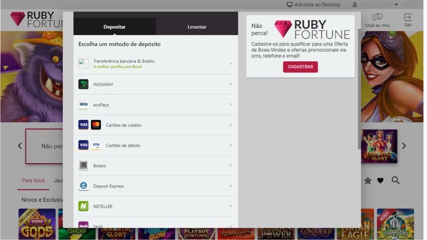 RUBY FORTUNE - métodos de depósitos