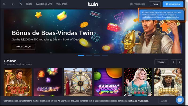 Twin casino - registrar-se, passo 5