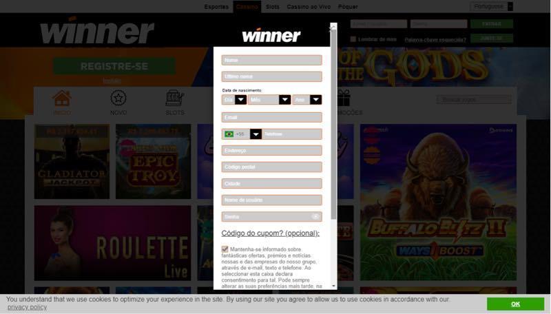 Winner Casino Registro de conta